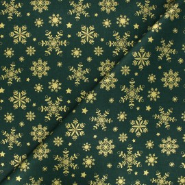 Tissu coton cretonne Flocon lapon - vert x 10cm