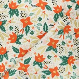 Rifle Paper Co. cotton fabric - Holiday Classics - cream Poinsettia x 10cm