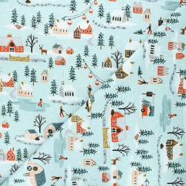 Rifle Paper Co. cotton fabric - Holiday Classics - blue Holiday Village x 10cm