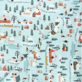 Tissu coton Rifle Paper Co. Holiday Classics - Holiday Village - bleu x 10cm