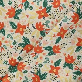 Rifle Paper Co. cotton canvas fabric - Holiday Classics - cream Poinsettia x 10cm