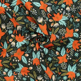 Rifle Paper Co. rayon fabric - Holiday Classics - green Poinsettia x 10cm