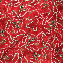 Hoffman fabrics cotton fabric - red Candy canes x 10cm
