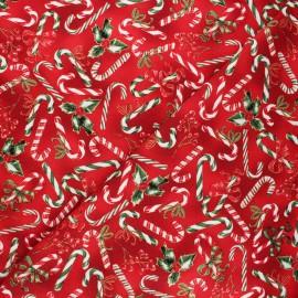 Tissu coton Hoffman fabrics - Candy canes - rouge x 10cm