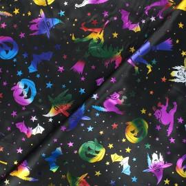 Tissu satin polyester Halloween - noir x 10cm