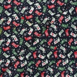 Cotton fabric - green Chaussettes de Noël x 10cm