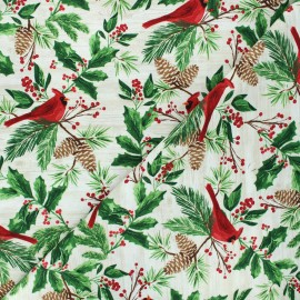 Timeless Treasures cotton fabric - natural Red cardinals on wood x 10cm