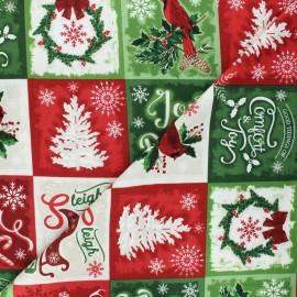 Timeless Treasures cotton fabric - multicolor Christmas squares x 10cm