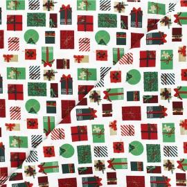 Cotton fabric - white Cadeaux de Noël x 10cm