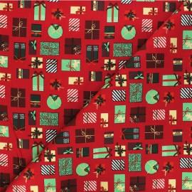 Cotton fabric - red Cadeaux de Noël x 10cm