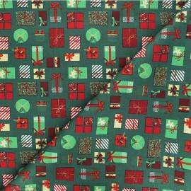 Cotton fabric -green Cadeaux de Noël x 10cm