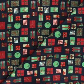 Cotton fabric - dark blue Cadeaux de Noël x 10cm