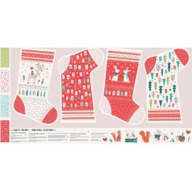 Dashwood Studio cotton fabric Forest Friends - Christmas stockings x 61cm