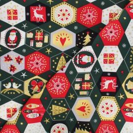 Cotton fabric -green Ornements de Noël x 10cm