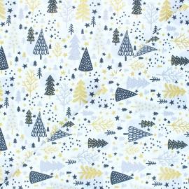Tissu coton cretonne Navidad - blanc x 10cm