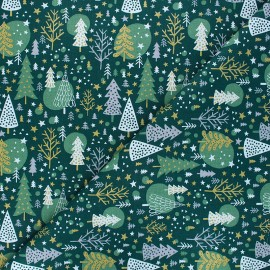 Cretonne cotton fabric - green Navidad x 10cm