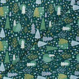 Tissu coton cretonne Navidad - vert x 10cm
