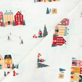 AGF cotton fabric - Cozy & Magical Christmastide Town - raw x 10cm