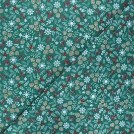 Cretonne cotton fabric - green Vosges x 10cm