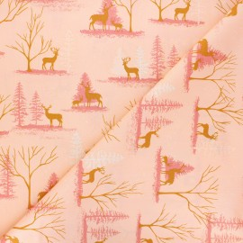 AGF cotton fabric - Cozy & Magical Deer in Winterland - pink x 10cm