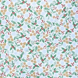 Tissu coton cretonne Vosges - blanc x 10cm