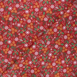 Tissu coton cretonne Vosges - rouge x 10cm