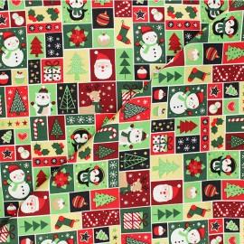 Tissu coton La petite fabrique de Noël - vert x 10cm
