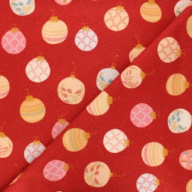 Tissu coton AGF Cozy & Magical - Deck the Halls - rouge x 10cm