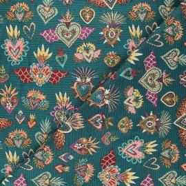 Jacquard fabric - peacock green Corazon x 10cm