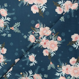 AGF cotton fabric - Cozy & Magical Frosted Roses - blue x 10cm