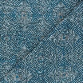 Tissu jacquard Talisman - bleu paon x 10cm