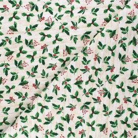 Tissu coton Timeless Treasures - Holly and leaves - naturel x 10cm