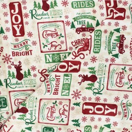 Tissu coton Timeless Treasures - Christmas patch - naturel x 10cm
