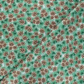 Cotton fabric Joyful tidings - light grey Pine cones x 10cm