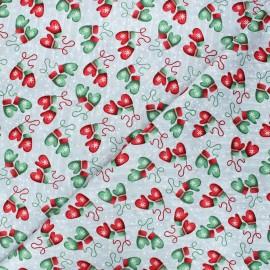 Cotton fabric Joyful tidings - light grey Mittens x 10cm
