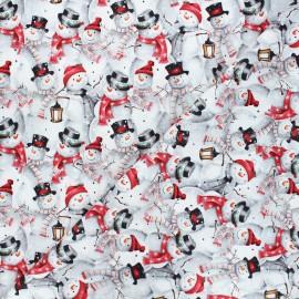 Tissu coton Joyful tidings - Snowman collage - gris clair x 10cm
