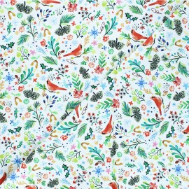 Dear Stella cotton fabric Love at frost sight - white Cardinal rule x 10cm