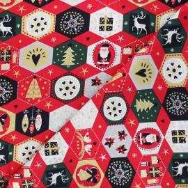 Tissu coton Ornements de Noël - rouge x 10cm