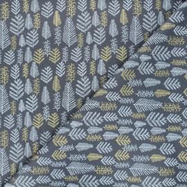 Tissu coton Forêt enneigée - gris x 10cm
