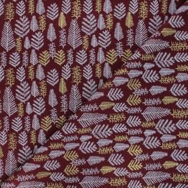 Tissu coton Forêt enneigée - bordeaux x 10cm