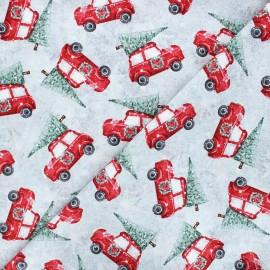 Cotton fabric Joyful tidings - light grey Cars with Christmas trees x 10cm