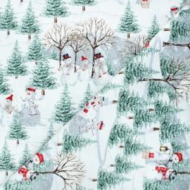 Cotton fabric Joyful tidings - light grey Scenic snowman x 10cm