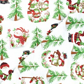 Tissu coton All that glitters is snow - Snowman scenic - blanc x 10cm