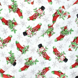 Cotton fabric All that glitters is snow - white Snowman Christmas stockings x 10cm