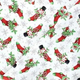 Tissu coton All that glitters is snow - Snowman Christmas stockings - blanc x 10cm