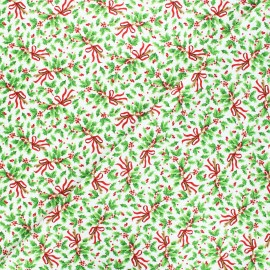 Cotton fabric All that glitters is snow - white Holly x 10cm