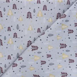 Tissu coton Sapins enneigés - gris clair x 10cm