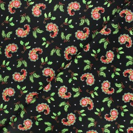 Cotton fabric All that glitters is snow - black Christmas paisley x 10cm