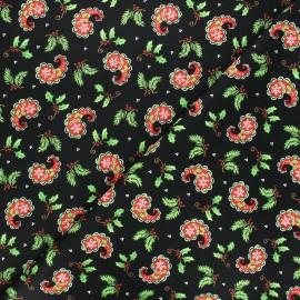 Tissu coton All that glitters is snow - Christmas paisley - noir x 10cm