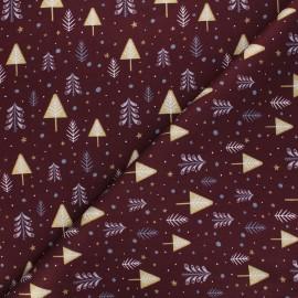 Tissu coton Sapins enneigés - bordeaux x 10cm
